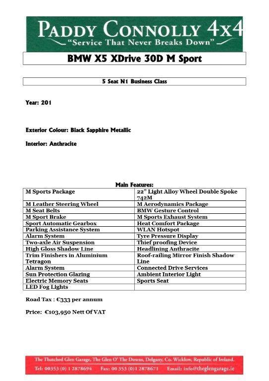 Used BMW X5 *5 Seat N1 Bus.Class* XDRIVE30D M SPORT (2020 (201))