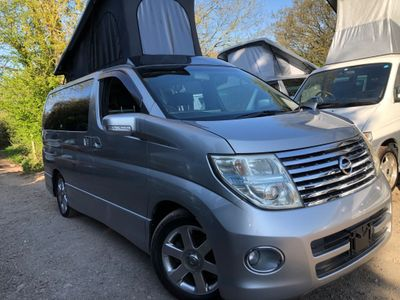 Nissan ELGRAND POP TOP 4 BERTH NEW SIDE CAMPER CONVERSION Campervan RUST FREE FRESH IMPORT 66k LPG