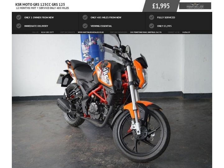 Ksr Moto GRS 125cc 125 ONLY COVERED 485 MILES FROM NEW 125cc image