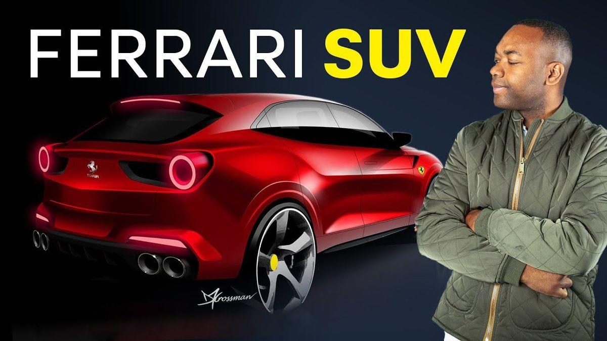 Rory stands near an artist's mock-up of the Ferrari Purosangue. Text reads Ferrari SUV