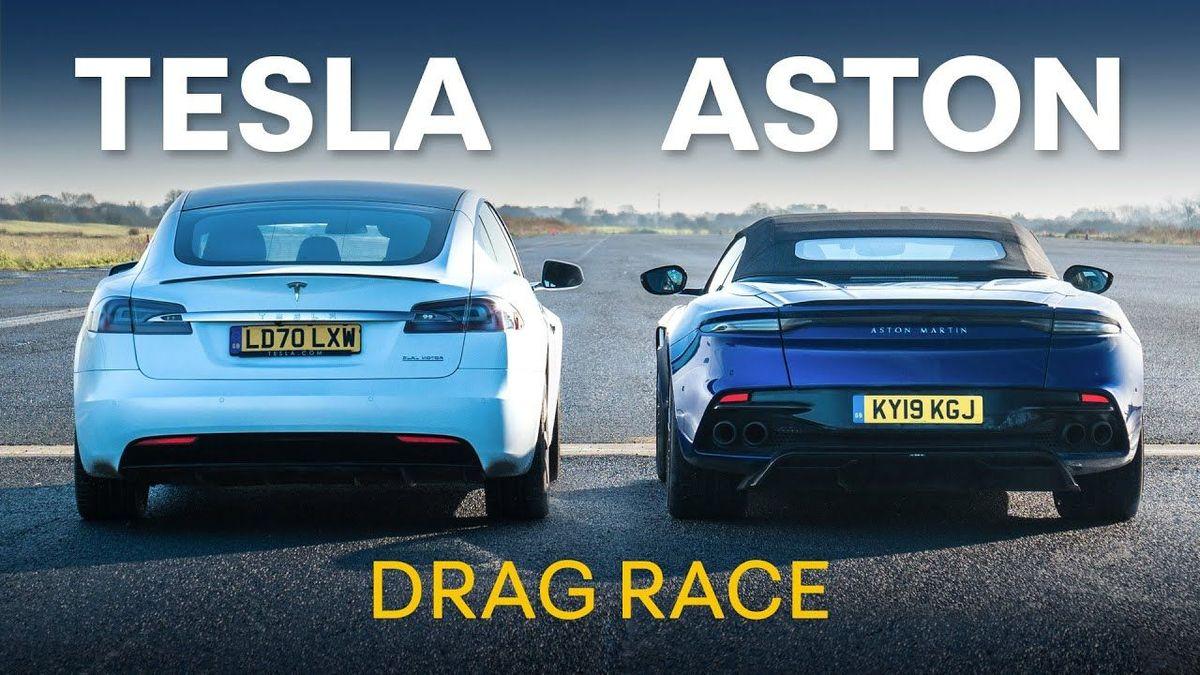 Tesla Model S and Aston Martin DBS drag race