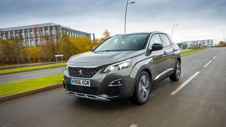 Front view of a Peugeot 3008, a funky family car
