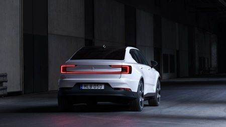 Rear view of a white and black Polestar 2 electric car