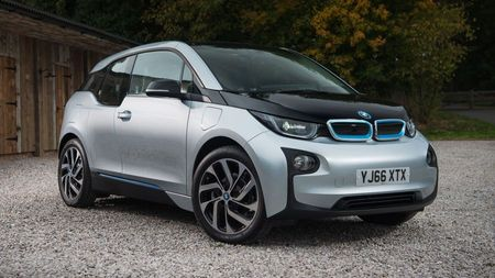 Silver and black BMW i3 electric car