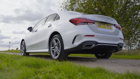 Close up of silver Mercedes A-Class A250e rear and exhaust