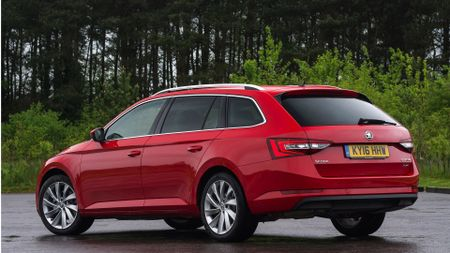 Best family cars include Skoda Superb Estate (rear view)