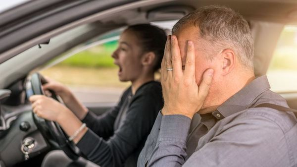 anxious learner driver with parent