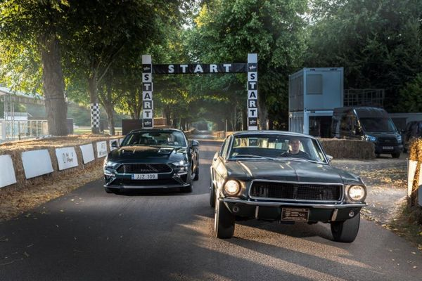 Ford Bullitt Mustang old and new at Goodwood