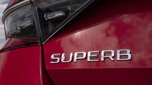 Close up of the Skoda Superb Hatchback's logo