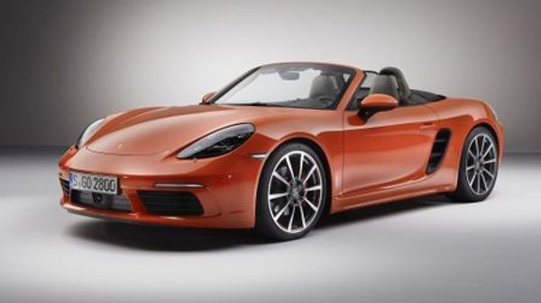 Red Porsche Boxster front