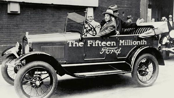 Edsel and Henry Ford in a Model T