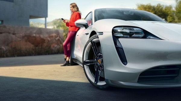 White Porsche Taycan electric car