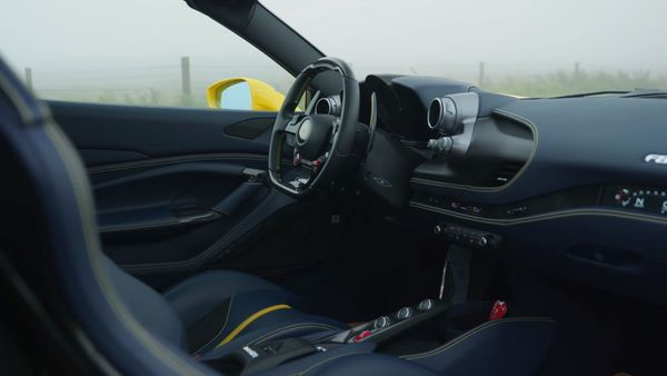 Ferrari F8 Spider blue and black cabin, including dashboard and seats