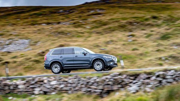 Grey Volvo XC90 driving through the Peak District