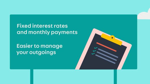 """Sign summarizing the finances of a HP contract: """"Fixed interest rates and monthly payments"""" """"easier to manage your outgoings"""""""