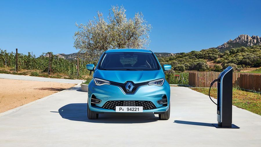 Blue Renault Zoe Hatchback parked near a charging point