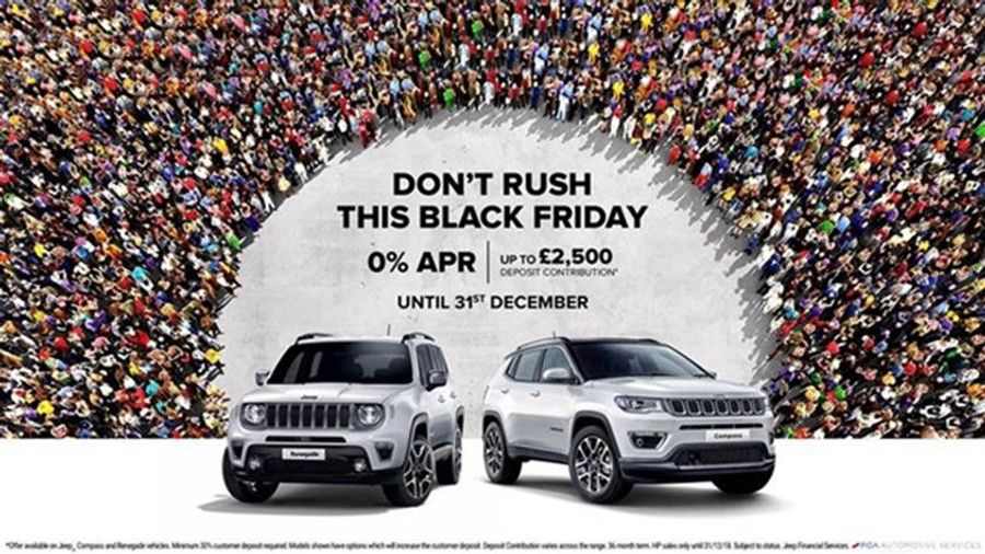 Jeep Black Friday Deals 0% APR and up to £2500 deposit contribution