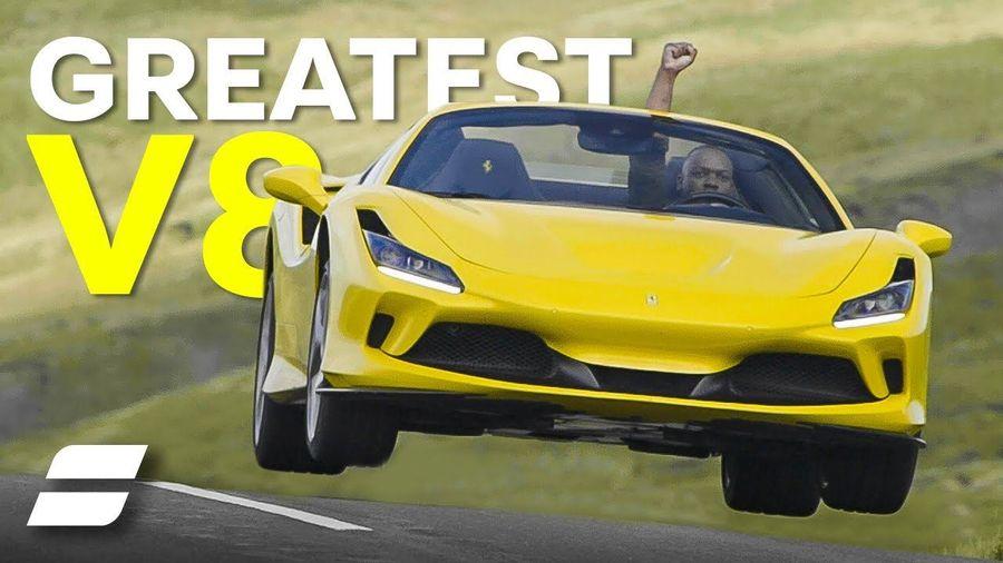 Rory drives Ferrari F8 Spider, text says Greatest V8