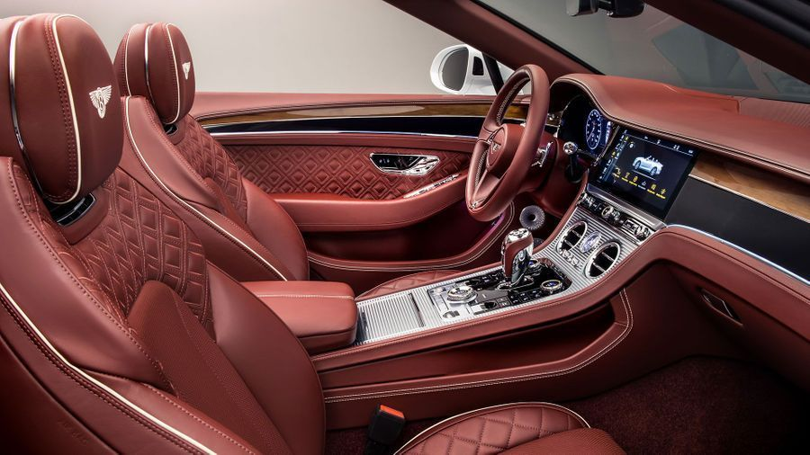 Bentley Continental GT convertible's red interiors
