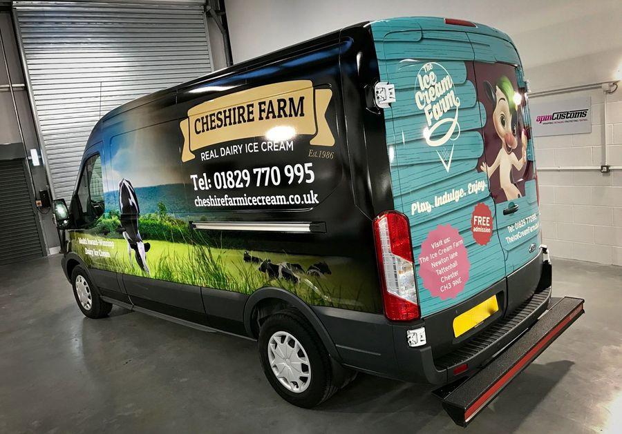 Full advertising wrap on a van