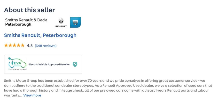 EVA badge displayed on an Auto Trader ad
