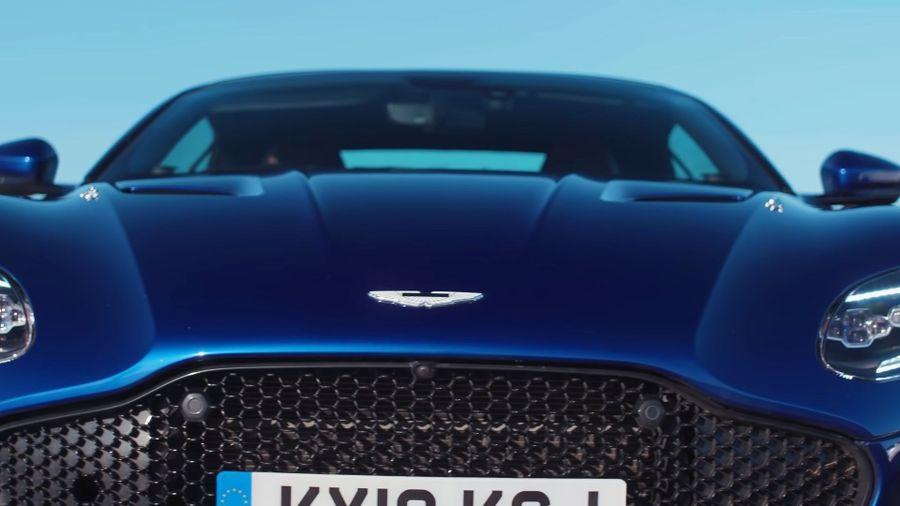 Close up of blue Aston Martin DBS