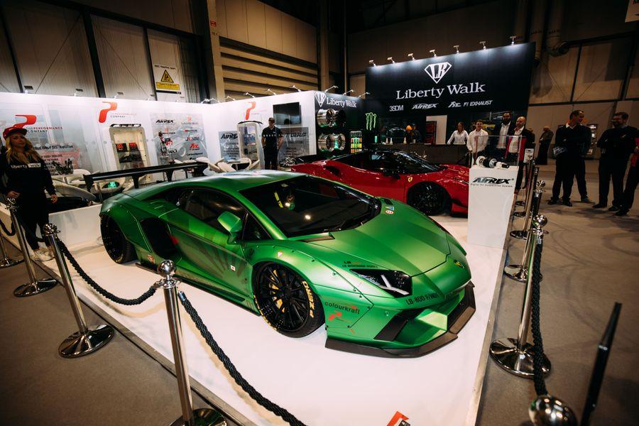 Green car wrap in a showroom